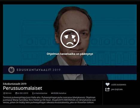 Jussi Halla-ahon vaalitentti todella oli kadonnut Ylen Areenasta. Sivusto ilmoitti, että katseluaika on päättynyt.