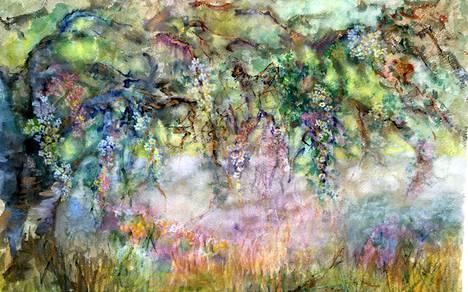 Tajunnan virta -näyttelyssä on esillä teoksia 22 eri taiteilijalta. Kuvassa Jaana Pärssisen akvarelli Elämä kantaa.
