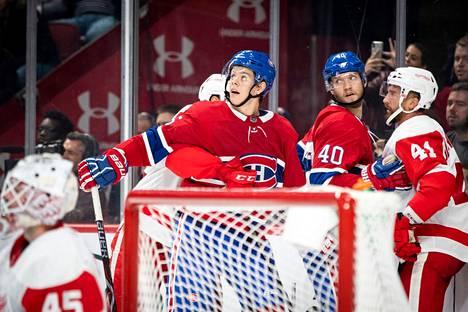 Montreal Canadiensin porilaishyökkääjät Jesperi Kotkaniemi (vas.) ja Joel Armia kuvattuna lokakuussa 2018.