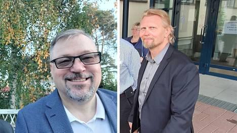 Nokialaisista kansanedustajista kokoomuksen Jari Kinnunen (vas.) on lähtemässä ehdolle aluevaaleissa, demarien Marko Asell (oik.) taas ei lähde ehdolle.