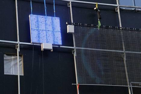 Areenan tulevaa näyttötekniikkaa kokeillaan Ratapihankadun seinustalla.