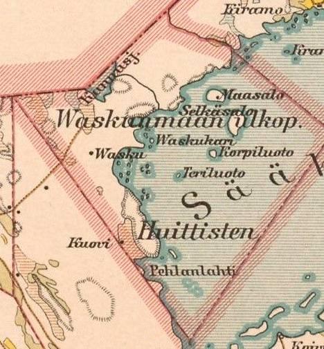 Vaskunmaa vuonna 1912 Loimaan kihlakuntaa kuvanneessa kartassa.