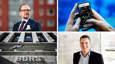 Pirkanmaan osakesäästäjien puheenjohtaja Matti Hirvonen (vas.) ja Nordnetin talousasiantuntija Martin Paasi suosivat molemmat matalakuluisia indeksirahastoja tai suoraa osakesijoittamista.