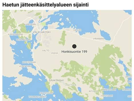 Kartassa on esitetty suunnitellun jätteenvastaanottoaseman sijainti. Mustattu ympyrä ei tarkoita alueen kokoa suhteessa kartan mittakaavaan.