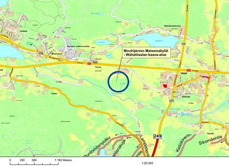 Wähätiisalan alue sijaitsee Häijään ja Uotsolan välillä Porintien eteläpuolella.