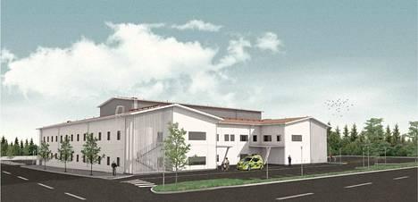 Arkkitehtitoimiston havainnekuvassa Akaan tuleva hyvinvointikeskus näyttää tältä.