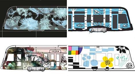 The Glow -taideratikka (vasemmalla ylhäällä) perustuu heijastavan teippaustarran käyttöön tummalla taustalla. Birch Tram (oikealla ylhäällä) on saanut inspiraationsa Siperian ja Suomen luonnosta. Paratiisiratikka (vasemmalla alhaalla) on ajateltu sopivaksi kaikkiin eri vuodenaikoihin. Leikki (oikealla alhaalla) hehkuu graafisten kuvioiden iloa.