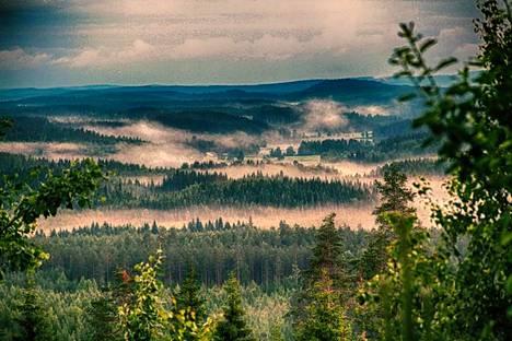 Kuva Juupajoen itsenäisyysjuhlan ohjelmasta. Kuva on otettu Juupavaaran laelta.