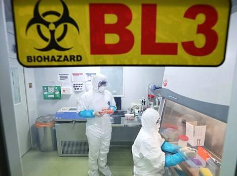 Tutkijat tutkivat laboratoriossa kiinalaisen naisen tavaroita Suwonissa Etelä.Koreassa tammikuun alussa ja yrittivät löytää syyn keuhkokuumeeseen sairastuneen naisen oireisiin. Nainen oli vieraillut Wuhanissa joulukuussa 2019.
