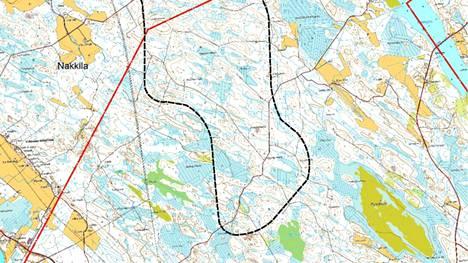 Noin kaksi kolmasosaa suunnitellusta tuulivoima-alueesta sijoittuisi Harjavallan puolelle.