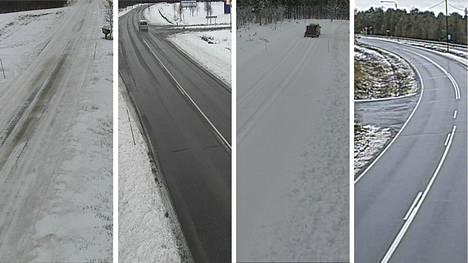 Lumisateet jatkuvat Pohjois-Lapissa. Sunnuntaiaamun valkenikin alueella monin paikoin lumisena.