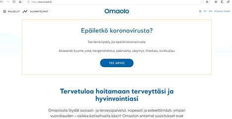 Omaolo.fi-palvelun koronavirusoirekyselyyn tulee ensi maanantaina paikkakuntakohtaiset ohjeistukset ja yhteystiedot myös Nokian osalta. Kuvakaappaus Omaolo.fi-sivustolta.
