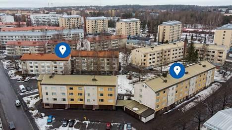 Tampereen Kalevassa samankokoisten naapuritonttien vuosivuokrissa on yli 20000 euron ero. Kuvassa vasemmalla olevan Väinämöisenkatu 19 vuokrasopimus uusittiin 20.2.2019, nyt kerrosneliöhinta on 520 euroa. Vuotta aiemmin 24.1.2018 osoitteessa Lemminkäisenkatu 5 vuokrasopimus uusittiin kerrosneliöhinnalla 280 euroa.