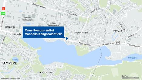Poliisin mukaan onnettomuus tapahtui Vanhalla Kangasalantiellä.