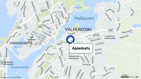 Hälytys tuli Apiankadulle Valkeakosken keskustaan.