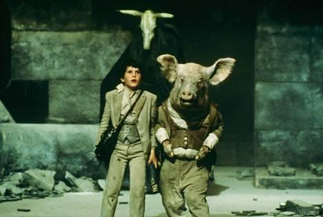 Fantasiaseikkailussa Rosvoja rosvoja koulupoika Kevin (Craig Warnock) sinkoutuu aikamatkalle. Vastaan tulee muun muassa sika.