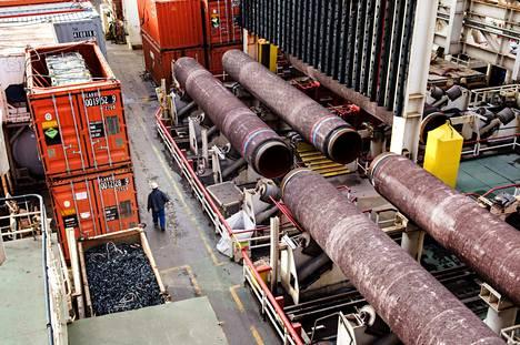 Kaasuputkea laskettiin Suomenlahden pohjaan lokakuussa 2018.