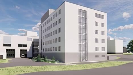 Alustavassa havainnekuvassa on hahmoteltu, miltä Hatanpään sote-keskus voisi näyttää. Rakennuksen lopullinen ulkomuoto voi vielä muuttua suunnittelun edetessä.