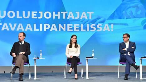 Perussuomalaisten puheenjohtaja Jussi Halla-aho, SDP:n puheenjohtaja Sanna Marin ja kokoomuksen puheenjohtaja, kansanedustaja Petteri Orpo kohtasivat puoluejohtajien koulutuskeskustelussa Educa-tapahtumassa Helsingissä 30. tammikuuta 2021.