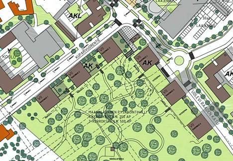 Vaihtoehto B:ssä rakennukset voisivat olla 7-kerroksisia. Pysäköintiluola olisi Kuparivuorenkadun suuntainen.