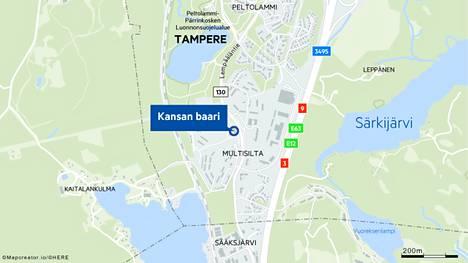 Ampumistapaus sattui Tampereen Multisillassa sijaitsevassa Kansan baarissa.