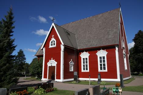 Rauman Lapin nykyinen Pyhän Olavin kirkko punainen puukirkko on vuodelta 1760. Vanhasta keskiaikaisesta kirkosta on jäljellä viisi puuveistosta, joista yksi kuvaa Pyhää Olavia.