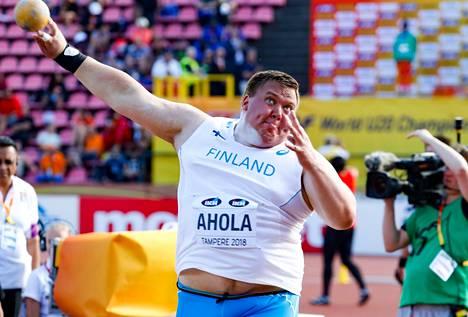 Porin Yleisurheilun kuulantyöntäjä Eero Ahola kilpailee alle 23-vuotiaiden EM-kullasta Tallinnassa heinäkuussa.