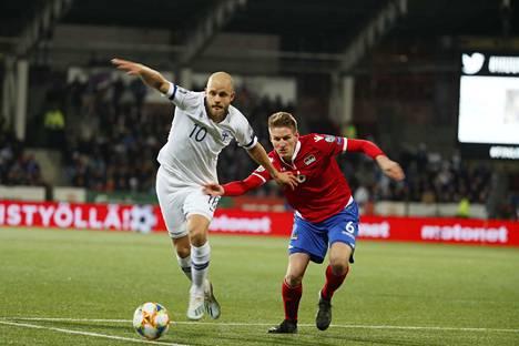 Liechtenstein-toppari Andreas Malin sai heti huomata Teemu Pukin olevan vaikea vastus.
