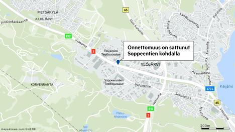 Tieliikennekeskuksen onnettomuuspaikka sijaitsee Vaasantiellä Soppeentien risteyksen kohdalla.