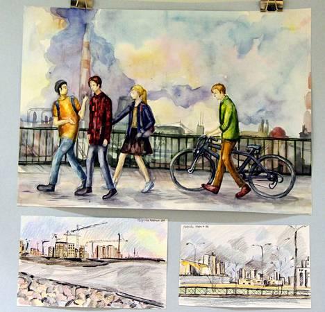 Lehtiniemen ala-aulassa on nuorten pietarilaisten taidetta teemalla kaupunki, meri, puut ja nuorten arki.