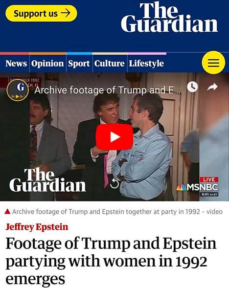 Presidentti Trump on The Guardianin mukaan ollut tekemisissä Epsteinin kanssa ainakin 90-luvulla. Esiin kaivetussa videossa miehet juttelevat keskenään ja tanssivat nuorten naisten kanssa.