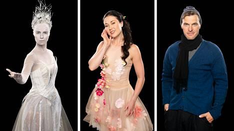 Kiira Korpi, Laura Lepistö ja Pekka Saravo ovat Lumikuningatar-jääshow'n tähtiä. Tältä he näyttävät vajaan vuoden kuluttua Uros-areenan jäällä.