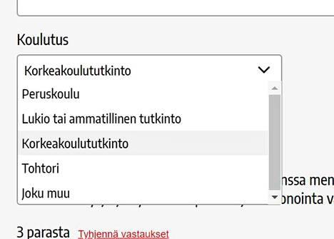 Kun ehdokas täytti Aamulehden vaalikoneen, vaihtoehdot olivat tällaiset.