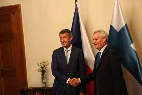 Tshekin pääministeri Andrej Babis ja Suomen pääministeri Antti Rinne keskustelivat maanantaina ilmastosta.