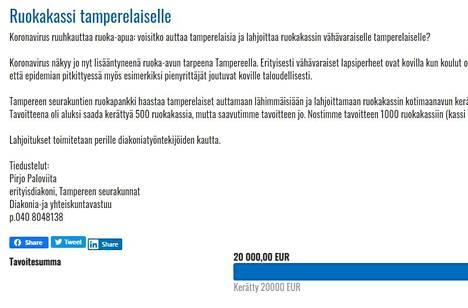 Perjantaiaamuna otettu kuvakaappaus lahjoitussivusta kertoo, että 20 000 euron tavoite täyttyi. Nyt se on nostettu 30 000 euroon.