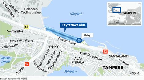 Hylky sijaitsee Pölkkylänniemen kohdalla Pispalan uittotunnelin edustalla.