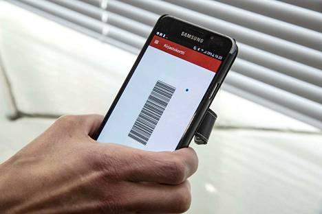 Tältä näyttää Pirkanmaan kirjastojen uusi sähköinen kirjastokortti. Sillä voi lainata kirjoja kuten tavallinen kirjastokortti.