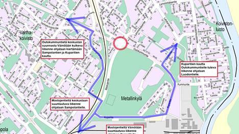 Karttakuva osoittaa, millaisille reiteille autoliikenne ohjataan liikenneympyrätyömaan aikana.