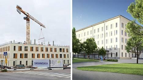 Nokian uuden hyvinvointikeskuksen rakentaminen on edennyt vauhdilla. Oikealla puolella oleva havainnekuva näyttää suuntaa antavasti, miltä valmis rakennus tulee näyttämään.