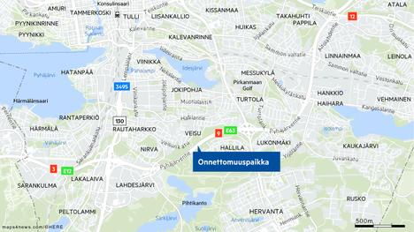 Onnettomuus tapahtui Ysitiellä Hervannan liittymän suunnassa, hieman ennen Karkunvuoren tunnelin suuta.