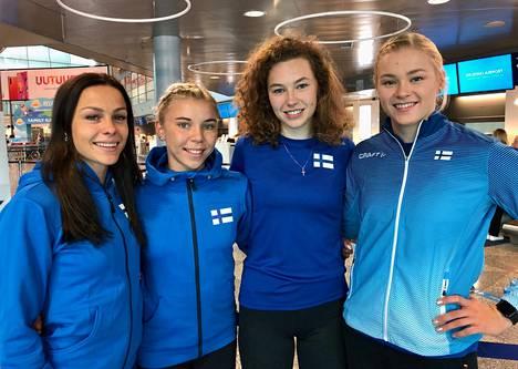Maria Huntington (vas.), Taika Koilahti, Ella Junnila ja Wilma Murto kuuluvat Suomen naisten vahvaan kaartiin Dohassa.
