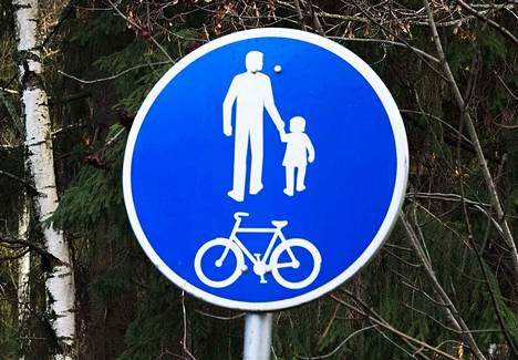 Tämä merkki osoittaa yhdistettyä pyörätietä ja jalkakäytävää.