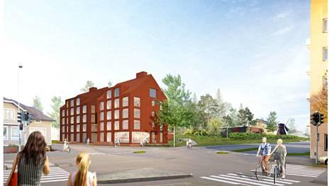 Seminaarinkadun ja Satamakadun risteyksen kerrostalot saisivat naapurikseen uuden asuinliiketalon, mikäli esitetty asemakaavamuutos toteutuu.