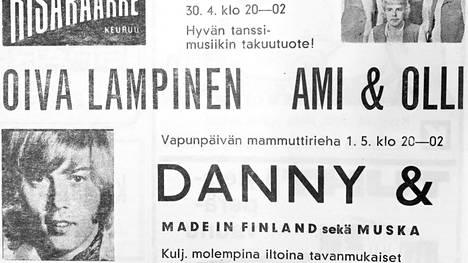 Dannya odotettiin Keuruun Kisakaarteelle tanssittamaan väkeä huhtikuussa 1971, ja tanssimusiikin takuutuotteiksi itseään mainostivat myös Oiva Lampinen, Ami ja Olli.