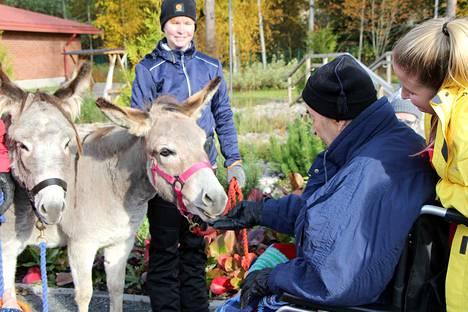 Klaus Salmivirta pääsi syöttämään Violalle kuivaa leipää hoitaja Jutta Raitasen avustuksella. Taustalla aasien toinen omistaja Anna Virta.