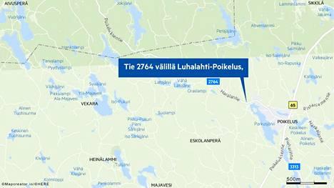 Liikenneonnettomuus Ylöjärvellä sulki tien toistaiseksi liikenteeltä. Tarkempi onnettomuuspaikka sijaitsee 1,6 kilometriä Poikeluksesta Löyttyjärventien suuntaan tiellä 2766.