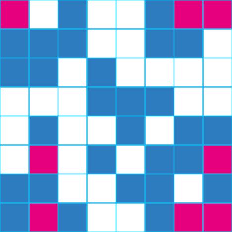 Korjattu tehtävä. Tehtävänä on värittää ruudukko punaisella ja sinisellä. Millään vaaka-, pysty- tai vinorivillä ei saa olla neljää samanväristä ruutua peräkkäin.