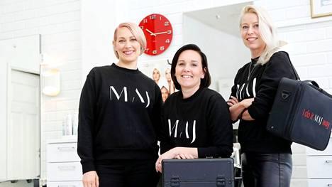 Krista Huhtala-Jenks, Linda Huhtala ja Kati Huhtala pyrkivät kasvattamaan yritystään vauhdilla. Kuva on huhtikuulta 2020.