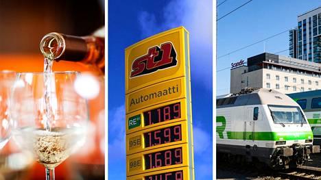 Inflaatio on tehnyt kuluttajahintoihin isoja muutoksia viimeisen vuoden aikana. Muun muassa bensiini, alkoholi ja junamatkat ovat kallistuneet.