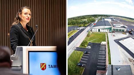 Tampereen pormestari Anna-Kaisa Ikonen (kok.) pitää Finnairin suunnitelmia huolestuttavana uutisena. Ikonen kuvattiin Tampereella elokuussa 2021, Tampere-Pirkkalan lentoasema elokuussa 2018.